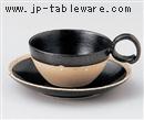 黒白ポイントC/S(碗と受け皿セット)