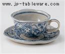 藍染間取花コーヒー皿(碗と受け皿セット)