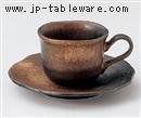 黒備前吹コーヒーC/S(碗と受け皿セット)