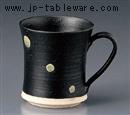 黒釉水玉マグカップ