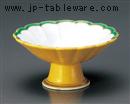 黄釉渕グリーン菊型高台小鉢
