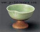 緑釉貫入一ツ押高台小鉢