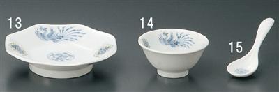 ブルー鳳凰八角皿