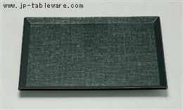 耐熱長手布目盆 グリーン天黒 尺2寸