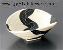 黒流針彫変型鉢