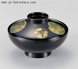 4寸平富士椀 黒花丸