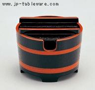 桶型ガリ入れ (切込有) 黒木目天朱