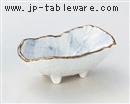 呉須散らし砂目舟型小鉢