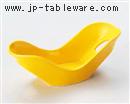 黄釉透し双葉小鉢