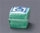 緑交趾吉の字角蓋付珍味