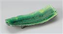 緑釉黄流し貼合せ9.0長皿