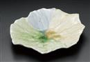 三彩葉型大皿