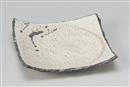 炭化粉引鉄散正角皿