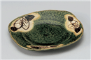 織部椿角皿