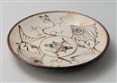 粉引魚紋厚口玉8.5皿(手描き)
