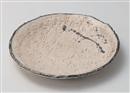 炭化粉引鉄散丸皿
