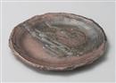 炭化灰釉ボタモチ丸皿