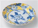 黄彩花紋菊型5.0皿