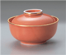 渕金オレンジ釉蓋物