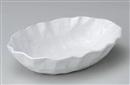 粉引手折楕円盛鉢