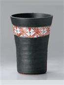 黒釉帯赤絵フリーカップ