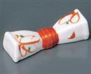 赤絵花つつみ型箸置