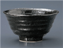 瀬戸黒ろくべ型茶碗(中)