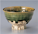 オリベサビ丸紋高台茶碗