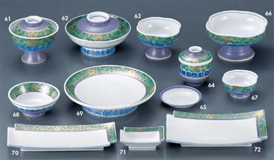 グリーン唐草牡丹 円菓子碗
