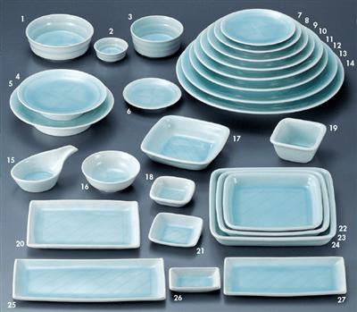 手彫り青白磁 丸刺身鉢