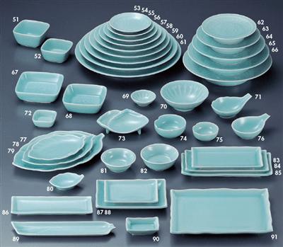 青白磁 牡丹4.5角鉢