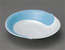 水色ラスター渦入り丸皿(大)