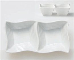 白磁ウエーブ二品鉢