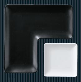 角皿シリーズL型プレート(黒マット)25cm