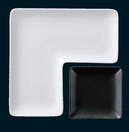角皿シリーズL型プレート(白)25cm