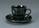 ソギ黒コーヒー碗皿(碗と受け皿セット)