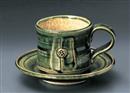 総織部花紋コーヒー碗皿(碗と受け皿セット)