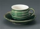 織部千段コーヒー碗皿(碗と受け皿セット)