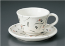 手描き花コーヒー碗皿(碗と受け皿セット)
