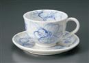 粉引小花コーヒー碗皿(碗と受け皿セット)