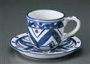 古代マジョリカコーヒー碗皿(碗と受け皿セット)