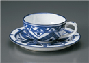 古代マジョリカ紅茶碗皿(碗と受け皿セット)