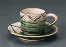 織部格子コーヒーC/S(碗と受け皿セット)