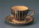 あめ色十草コーヒー碗皿(碗と受け皿セット)