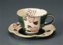 ばら織部コーヒー碗皿(碗と受け皿セット)