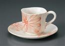 白ヌリ分花絵コーヒー碗皿(碗と受け皿セット)