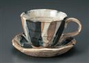 黒カスミ流し十草ロックコーヒー碗皿(碗と受け皿セット)