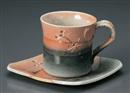 秋トンボ角コーヒー碗皿(碗と受け皿セット)