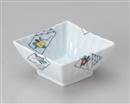 椿絵菱型小鉢