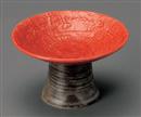 高台赤丸4寸皿